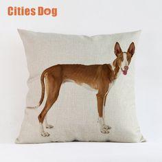 Woven Linen Animal dog Cushion Cover Sofa Car Home Decorative Throw Pillow Ibizan Hound dogs 45*45cm Almofadas Cojines #Affiliate