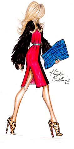 via hayden williams . on the go chic: f/w fur sleeved coat dress by hayden williams, leopard print 'dahlia' booties by louboutin and oversize croc skin clutch . Fashion Illustration Sketches, Art And Illustration, Fashion Sketches, Drawing Fashion, Moda Fashion, Trendy Fashion, Fashion Art, Fashion Design, Dress Fashion