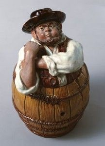 """Rafael Bordalo Pinheiro, the 18th century artist who influenced the trends of Caldas pottery, has created extremely original pieces with mocking value.    Some of the most famous sarcastic figures are """"Zé Povinho"""" and """"Tobias"""" (canister figures), as well as cups with naughty motives."""