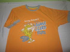 Vntg TOMMY BAHAMA Graphic Ringer T Shirt Size S Small - Orange - LIZARD LOUNGE  #TommyBahama #GraphicTee