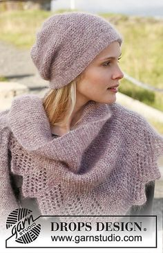 Ravelry: 151-8 Ladylike - Hat and shawl in garter st with lace pattern in 2 strands Kid-Silk pattern by DROPS design