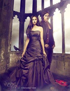 """The Vampire Diaries"" - Elena & Damon Vampire Diaries The Originals, Serie The Vampire Diaries, Vampire Diaries Poster, Vampire Diaries Wallpaper, Vampire Diaries Damon, Damon Salvatore, Nina Dobrev, Paul Wesley, Ian Somerhalder"
