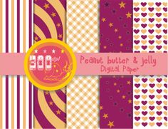 Peanut butter and jelly digital paper hearts by GemmedSnail, $2.00 #pbj #scrapbooking
