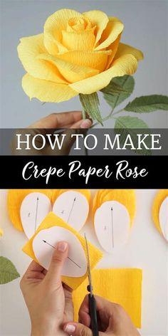 Paper Flowers Craft, Paper Crafts Origami, Diy Flowers, How To Make Paper Flowers, Crepe Paper Decorations, Crepe Paper Crafts, Flower Diy, Flowers From Tissue Paper, Handmade Paper Flowers