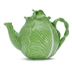 Tory Burch Lettuce Ware Teapot ($245) ❤ liked on Polyvore featuring home, kitchen & dining, teapots, green, green stoneware, green tea pot, green teapot and tory burch