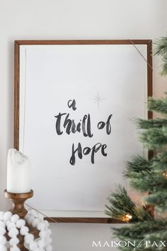 Thrill of Hope: Free Christmas Printable - looking for budget Christmas decorating ideas? Download this free watercolor printable!