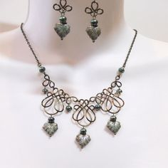 Green Leaf Wire Work Necklace Set - Green Freshwater Button Pearls - Bronze Wire - Ceramic Leaf Beads - Wire Wrapped
