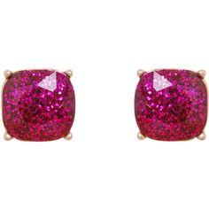Humble Chic NY Kate Square Studs featuring polyvore, fashion, jewelry, earrings, fuchsia glitter, rhinestone dangle earrings, rhinestone stud earrings, rhinestone earrings, fuchsia earrings and glitter earrings