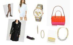 Tights: Hue, Romper: L'America, Watch: Kate Spade, Bag: Kate Spade, Coat: Mackage Dale, Shoes: Keds, Earrings: Nadri, Bracelet: Kate Spade, Necklace: Panacea