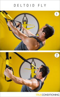 Get defined shoulders and back muscles with the TRX Deltoid Fly. To mix it up, try a Y, T, and I formation.