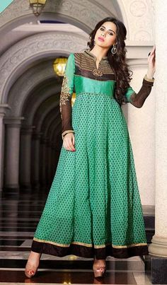 USD 70.08 Green Faux Georgette Ankle Length Anarkali Suit 37067
