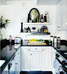 floating shelves in white + black kitchen by Nicole Fuller
