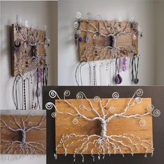 Tree of Life Jewelry Display made with reclaimed barn wood, Earring, necklace, bracelet holder, jewelry holder, jewelry storage, organize. $225.00, via Etsy.
