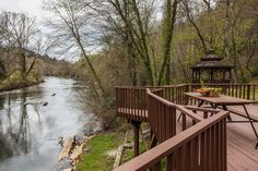 Toccoa River Paradise at Nanny's Shanty in Blue Ridge - Mountain Oasis Cabin Rentals Blue Ridge Mountains, Cabin Rentals, Garden Bridge, Vacation Ideas, Oasis, Things To Do, Paradise, Deck, Outdoor Structures
