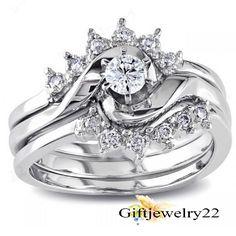 0.55 CT. Round Cut Diamond 10k White Gold Finish Engagement Bridal Ring Set #giftjewelry22