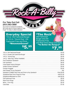 Rockabilly Cafe at the Cumberland Mountain General Store Grill Menu