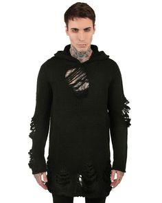 Killstar Destroy Strickpullover Knit Hoodie Mens Black Goth Grunge Destroyed Hooded