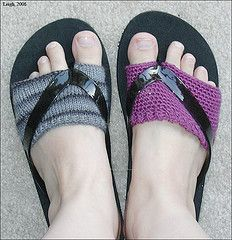This would help those who cannot wear flip flops because the strap between the toe hurts you. The crocheted sock'ie would give you some cushion.