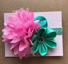 Cumpleaños de rosa y Aqua Puff diadema diadema de flores de