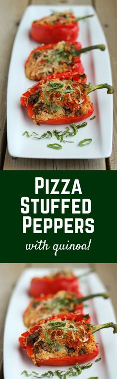 Quinoa Pizza Stuffed Bell Peppers - a healthier way to satisfy your pizza craving! | RachelCooks.com