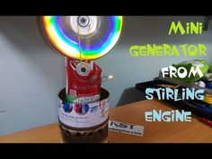 Mini generator from stirling engine - YouTube