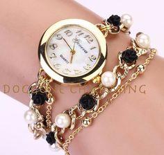 Duoya NEW Fabulous Femmes Mode Casual Bracelet En Cuir Montre-Bracelet Femmes Robe Relogios Drop Shipping Pearl Bracelet, Pearl Jewelry, Bangle Bracelet, Women's Dress Watches, Accesorios Casual, Cheap Bracelets, Pearl Chain, Stylish Watches, Earrings