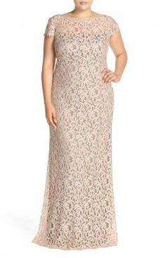 Tadashi Shoji Cap Sleeve Lace Gown (Plus Size) Beige Wedding Dress, Wedding Gowns, Lace Gown Styles, Dinner Wear, Looks Plus Size, Evening Party Gowns, Tadashi Shoji, Nordstrom Dresses, Plus Size Women
