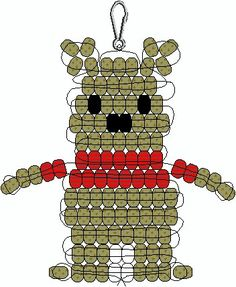Winnie the Pooh Bear Pony Bead Pattern Pony Bead Projects, Pony Bead Crafts, Beaded Crafts, Beaded Ornaments, Beading Projects, Pony Bead Animals, Beaded Animals, Pony Bead Patterns, Beading Patterns