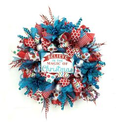 Deco Mesh Christmas Wreath in Retro Christmas colors Red Turquoise Christmas Wreath, Holiday Wreaths, Believe Christmas Decor by SouthernCharmWreaths