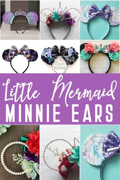 These Little Mermaid Mickey Ears are the Cutest Ariel Minnie Ears EVER! So many pretty Ariel Mickey ears! I love the pretty sequins, but the Ursula ones are cool too. Diy Disney Ears, Disney Mickey Ears, Disney Diy, Disney Crafts, Mickey Mouse, Disney Cruise, Crafts For Teens To Make, Crafts To Sell, Diy And Crafts