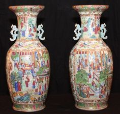 Pair of 19th Century Rose Medallion Vases, beautifully painted | Charlotte Nail Antiques Showroom 165 at The Houston Design Center