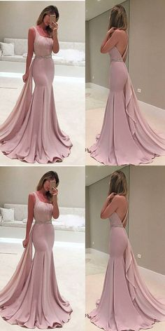 Mermaid One Shoulder Detachable Train Beaded Blush Prom Dress -You can find beaded and more on our website.Mermaid One Shoulder Detachable Train Beaded Blush Prom Dress - Bodycon Prom Dresses, Blush Prom Dress, Pink Evening Dress, Simple Prom Dress, Mermaid Prom Dresses, Evening Dresses, Dress Prom, Cheap Gowns, Cheap Prom Dresses