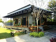 Ranch House Plans 36 Ideas house ideas plans modern small for 2019 Types Of Lawn Mower Batteries Law Tropical House Design, Tropical Houses, Rest House, House In The Woods, Modern Exterior, Exterior Design, Small House Exteriors, Thai House, Bungalow House Design