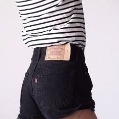 high waisted jean shorts with tee tucked in