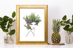 The Girl with the Grevillea and Gecko Print -Printable Poster-Australian Floral and Reptiles Print- Watercolour print Herb Wall, Australian Native Flowers, Vanity Decor, Lace Print, Botanical Art, Watercolor Print, Custom Art, Flower Prints, Culinary Herb