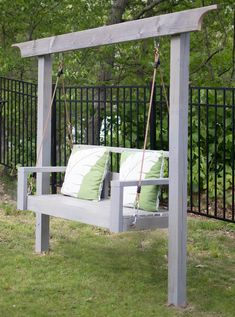 How to Build a Porch Swing Stand & How to Hang a Porch Swing - Gina Michele - Diy swing - Backyard Swings, Backyard Sheds, Backyard Patio, Outdoor Swings, Porch Swings, Pergola Swing, Diy Pergola, Outdoor Wooden Swing, Lawn Swing