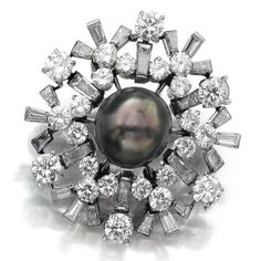 Natural pearl and diamond brooch, 'Snowflake', Bulgari, 1950s
