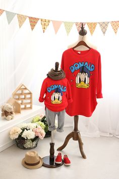 QZZ098 New Autumn Winter Family style mom and kids T shirt cute cartoon Donald family clothing 2 8Y kids family matching outfits