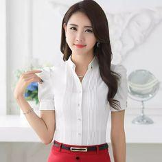 8f8b8a8183612 Moda Decote Em V manga curta magro camisa das mulheres OL Formal de manga  sopro chiffon