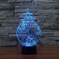 NIEBC Star Wars Stormtrooper 3D 7-Color Gradual Changing LED Touch Switch Visualization Illusion Atmosphere Light Desklamp Nightlight (BB-8)