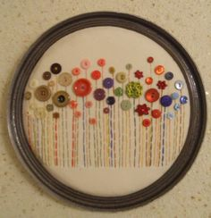 Button Flower Wall Art by Jainz Embroidery Hoop Crafts, Hand Embroidery Videos, Embroidery For Beginners, Hand Embroidery Designs, Button Art, Button Crafts, Rainy Day Crafts, Music Crafts, Sewing Projects For Kids