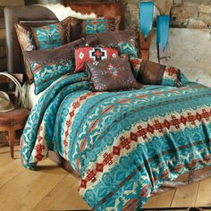 Western Bedding: Queen Size Cerrillos Hills Turquoise Bed Set|Lone Star Western Decor
