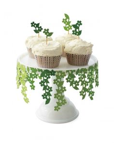 Cake Stand decorated with paper flower vines.