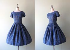 50s dress / vintage 1950s dress / blue batik low by HolliePoint, $78.00