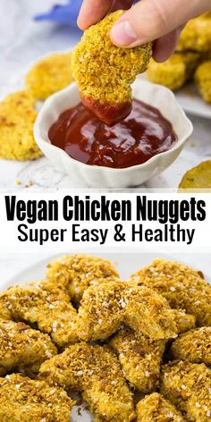 If you're looking for vegan comfort food recipes, these vegan chicken nuggets (aka chickpea nuggets) are perfect for you! They're super easy to make and so much healthier than regular chicken nuggets! Find more vegan recipes at veganheaven.org! #chickennuggets #vegancomfortfood #vegan