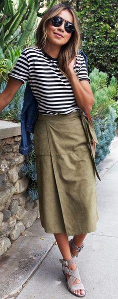 #summer #trending #street #style | Stripes + Suede