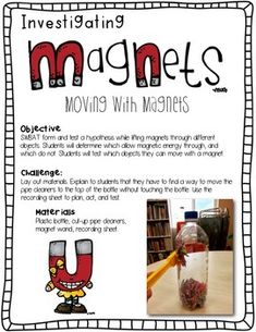 Science Activities for Kindergarten: STEM Magnet Activities - Blue grp wk 3 Stem Science, Preschool Science, Elementary Science, Science Experiments Kids, Science Classroom, Science Lessons, Teaching Science, Science For Kids, Science Activities