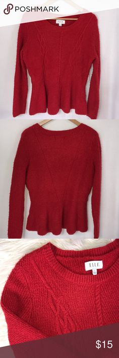 """NWT Red Peplum Metallic Sparkly Fuzzy Sweater Festive and fun form fitting red sweater new with tags.   Flattering peplum style.   Rounded neckline.  Size Large.  True red.  Red metallic thread in knit.  Cabled front.  Soft and stretchy.  Pit to pit 20"""", length 24"""".  Long sleeve. Elle Sweaters Crew & Scoop Necks"""