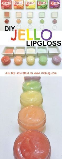 DIY JELLO Lip Gloss – Mizz Tunechi DIY JELLO Lip Gloss Hello everyone, Today, we have shown Mizz Tunechi DIY Jello Lipgloss Recipe…looks absolutely disgusting but not a bad idea for toddlers who like to eat their lipgloss too Homemade Lip Balm, Diy Lip Balm, Homemade Gifts, Diy Gifts, Homemade Lipstick, Diy Spa, Fun Crafts, Crafts For Kids, Nature Crafts