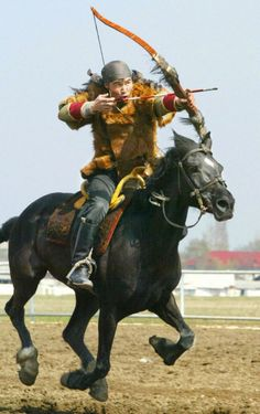 A bow and arrow hunter on his horse during the games in Bishik, the Kirghiz capital (Vyacheslav Oseledko/AFP/Getty Images). One of my goals in life is to learn how to tent peg. Mounted Archery, Poses References, Action Poses, Medieval Fantasy, Horse Riding, Art Reference, Character Design, Games, Scenic Photography